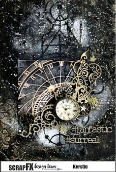 Steampunk Time with Kerstin Mixed Media Collage, Mixed Media Canvas, Collage Art, Paper Collages, Mixed Media Techniques, Art Techniques, Steampunk Cards, Architecture Art Design, Mixed Media Scrapbooking