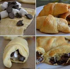 Mini Marshallow Chocolate Croissants: 1. Get Pillsbury Mini Croissants dough. 2. Unroll them and lay them out. 3. Place mini marshmallows and chocolate chips in them and roll them back up. 4. Cook for directed time and temperature on the Mini Croissants packaging. Done!