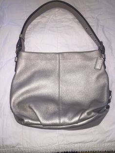 a7b4f14f97 AUTHENTIC COACH   F15064 Silver Pebbled Leather Slouch Hobo Shoulder Bag  Purse  Coach  Hobo