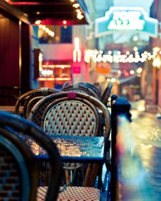 Seattle Pike Place Market - A Rainy Morning in Post Alley - Fine Art Print 8x10 photograph of chairs and a bistro