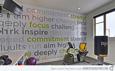 love the wall quote/wallpaper for this home gym