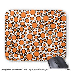 Orange and Black Polka Dots Mousepad