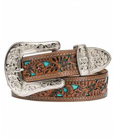 Women's Brown Leather Belt with Turquoise Inlay