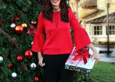 Red Lantern Sleeve top ♥️ holiday style, bell sleeves, holiday fashion, presents, gifts, Christmas tree, Shein