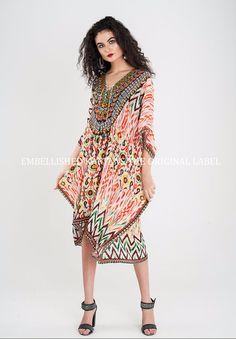 Embellished Kaftans Zig Zag Zara Digital Prints Designer Viscose Silk SLP409
