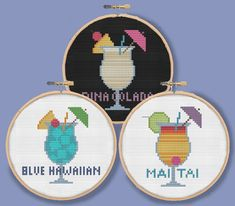 TROPICAL COCKTAILS - Mini drink ornaments coasters - Modern Counted Cross Stitch Pattern - pdf instant download
