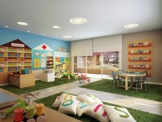 super ideas for children playroom ideas indoor playground play spaces Play Spaces, Learning Spaces, Kid Spaces, Play Areas, Kindergarten Interior, Kindergarten Design, Daycare Rooms, Home Daycare, Kids Corner