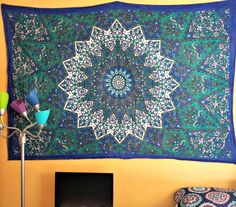Amazon.com: Blue Psychedelic Star elephant Tapestry wall hanging Hippie Tapestry Mandala Tapestries Bohemian bedding Dorm tapestry bedding dorm Decor by Jaipur Handloom: Home & Kitchen