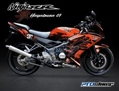 Striping Ninja 150 RR NEW Hitam Motif Hayabusa DC Orange Prostiker