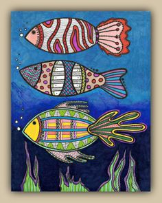 FISH of the SEA- 8.5 x 11 Markers Doodle Drawing