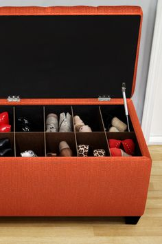 Shoe storage bench - Could easily be made for much cheaper with a upholstered bench or bin from Target and make your own dividers