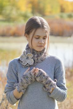 Floral Crochet Scarf Beige Stone with by ValerieBaberDesigns
