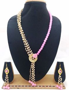Latest Indian Jewelry Pearl Baby Pink Beads Designer Party Necklace Earrings Set #ShouryaExports #Necklace