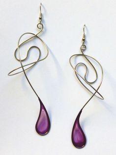 Stainless steel dangle earrings in purple - handmade jewelry. $35.00, via Etsy.