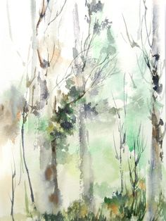 Abstract Forest Landscape Watercolor Painting Art Print, Green Abstract Nature, Modern Wall Art