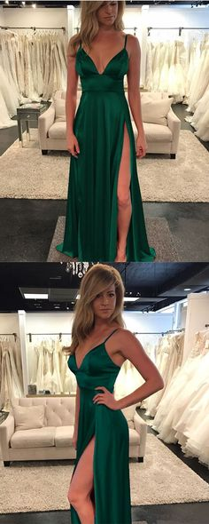 Emerald Green Prom Dress, Spaghetti Straps Evening Gowns,