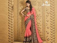 Buy this stunning peach & brown #chiffon #saree along with multicolour pashmina blouse work with #bhagalpuri #printed, jute patta, stone, jari work border by Laxmipati.Look fresh, look chic! #Catalogue #SANGEET Price - Rs. 2133.00 Visit for more designs@ www.laxmipati.com #GaneshChaturthi #Ganesh #monsoon #Shopping #Shoppingday #ShoppingOnline #fashionstyle #ReadyToWear #OccasionWear #Ethnicwear #FestivalSarees #Fashion #Fashionista #Couture #SANGEET0816 #LaxmipatiSaree #autumn #winter #wome Laxmipati Sarees, Chiffon Saree, Printed Sarees, Occasion Wear, Look Chic, Daily Wear, Bridal Collection, Kurti, Print Design