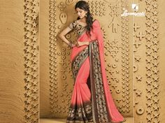 Buy this stunning peach & brown #chiffon #saree along with multicolour pashmina blouse work with #bhagalpuri #printed, jute patta, stone, jari work border by Laxmipati.Look fresh, look chic! #Catalogue #SANGEET Price - Rs. 2133.00 Visit for more designs@ www.laxmipati.com #GaneshChaturthi #Ganesh #monsoon #Shopping #Shoppingday #ShoppingOnline #fashionstyle #ReadyToWear #OccasionWear #Ethnicwear #FestivalSarees #Fashion #Fashionista #Couture #SANGEET0816 #LaxmipatiSaree #autumn #winter #wome