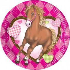 Partyartikel Kindergeburtstag, Mottoparty Pferde, Partyteller 20cm Pferde Horses