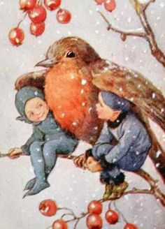 Margaret Tarrant - Kind Robin pieces mini Jigidi jigsaw puzzle) C. Christmas card painting by Margaret Tarrant. A robin shelters two elves from the falling snow. Art Vintage, Vintage Fairies, Vintage Christmas Cards, Christmas Art, English Christmas, Christmas Angels, Christmas Christmas, Flower Fairies, Fairy Art