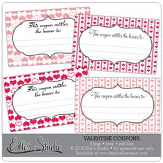 Use these coupon tags to create a coupon booklet for a fun gift, on your scrapbooking projects!
