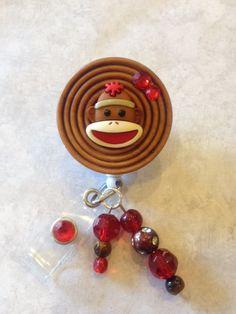 Sock Monkey Retractable Badge Reel  Decorative by ForTheLovetlc, $8.00