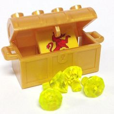 Lego Parts: Treasure Chest/Jewel Pack Bundle (4) 24 Facet Neon Green Jewels, (1) Pearl Gold Treasure Chest, (1) Coat of Arms Tile