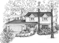 """Your house drawn in ink - 11"""" x 14"""" matted to16"""" x 20""""black and white architectural sketch Home portraits in pen and ink House portrait on Etsy, $180.00"""