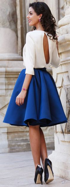 White Open Back Blouse Fall Party Style Inspo Fashionistas Party Fashion, Cute Fashion, Skirt Fashion, Fashion Models, Fashion Beauty, Fashion Dresses, Putting Outfits Together, Casual Street Style, Mode Style