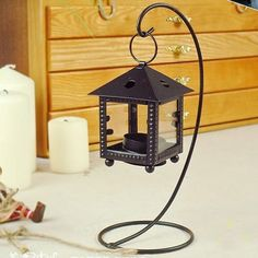 Cozy cottages European Morocco hurricane lamp candle holder ornaments vintage wrought iron candlestick wedding gift ideas