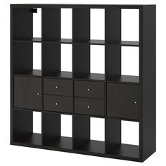 IKEA - KALLAX, Shelf unit with 4 inserts, black-brown, Two people are needed to assemble this furniture. Different wall materials require different types of fasteners. Use fasteners suitable for the walls in your home. Hardware for wall mounting included. Ikea Kallax Shelf Unit, Kallax Shelving Unit, Wall Shelf Unit, Wall Shelves, Ikea Regal, Ikea Kallax Regal, Kallax Insert, Painted Drawers, Windows