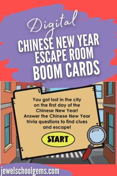 Looking for fun Chinese New Year activities for your students? Try this exciting digital new year's escape room for kids on Boom Cards. Your students will find themselves lost in the city on the first day of the Chinese New Year. They must go through four different areas in the city and click on objects in each room to find clues. They must answer multiple-choice Chinese New Year trivia questions correctly in order to see if the object has a letter for the special word.