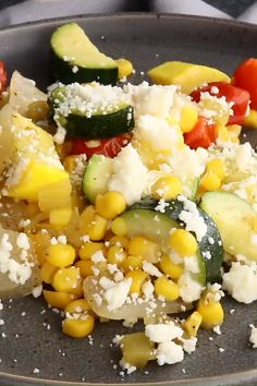 This Calabacitas Recipe has zucchini, squash, onions and tomatoes cooked up with sweet corn and green chilies then topped with crumbled, salty queso fresco! Corn Recipes, Side Dish Recipes, Mexican Food Recipes, Vegetarian Recipes, Cooking Recipes, Healthy Recipes, Cooking Tips, Salad Recipes, Vegetarian