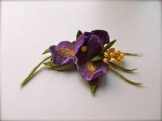 Felt Brooch Iris   Flowers Brooch  Felted Flower Brooch by jurooma