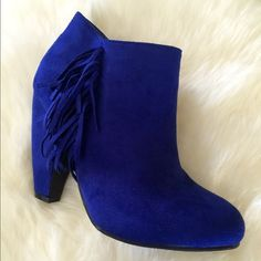 "Last size 9 Vegan Blue Suede bootie Blue suede booties Heel height 4""...  Last call on these! Shoes Ankle Boots & Booties"