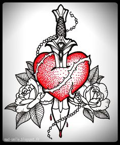 Heart  Dagger  http://mad-smile.blogspot.fr/search/label/TATTOO