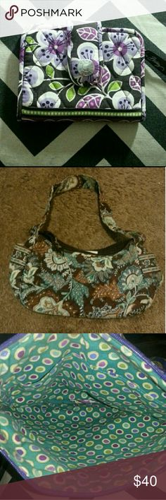 Vera Bradley Group A wallet in a purple floral pattern,  this one is more modern than the others.  Great condition.  The brown and blue purse is in decent condition,  there is a child's name written on the tag inside.  The purple and aqua crossbody is in good condition,  some of the metal has tiny scratches.  Otherwise the in and out lining are pristine.  I can't sell these individually so I am hoping to sell them as a group.   Open to all offers and trades!  ?? Vera Bradley Bags