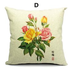 Flower pillow Chinese style linen cushions 18 inch hand painted design