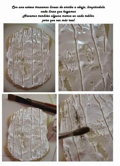 How to create wood effect on a cookie.  GALLETA DECORADA, UNA MACETA EN LA PARED