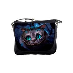 """Cheshire Cat Alice In Wonderland 14"""" Messenger Sling School Laptop Notebook School Bags (MB009) • The bag was made of top quality black nylon. • Measures 14""""L …"""