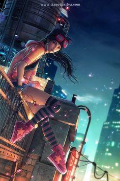 Arte Cyberpunk, Cyberpunk Girl, Cyberpunk Aesthetic, Cyberpunk 2077, Cyberpunk Tattoo, Cyberpunk Clothes, Art Manga, Art Anime, Manga Girl