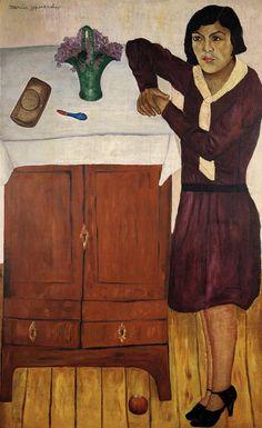 María Izquierdo   Retrato de Belem, 1928  para nosotros esta pintura representa, como era vista o como era la mujer en los años de 1928.