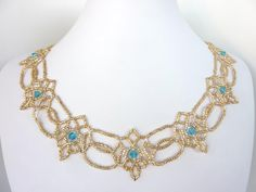 FREE beading pattern for a lovely beaded lace necklace accented with 6mm bicone crystals.