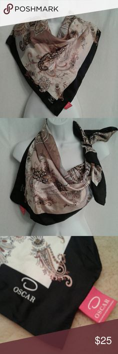 """O by Oscar de le Renta silk scarf This is a black, brown, tan, grey and cream paisley print scarf in EUC. It is 100% silk, dry clean only. It is a 34"""" square. O by Oscar de la Renta Accessories Scarves & Wraps"""