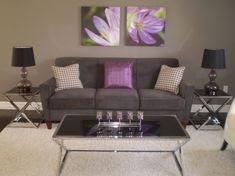 Decorating With Purple And Gray | Grey & Purple Modern Living, This is my first room completed in our ...