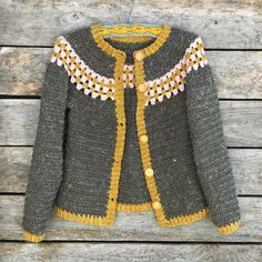 Beatrice crocheted cardigan — details on pattern and yarn.