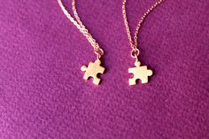 Gold Puzzle Piece Necklace  Tiny Gold Puzzle by HolyLandPaloma