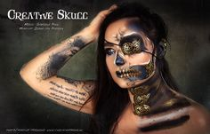 Thema Creative Skull Make Up  Black & Bronze skull   MUA Ilona van Paassen  Model DJ Gabriela Penn