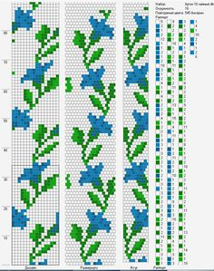 Bead crochet rope pattern - blue flowers with leaves - 16 around, 5 colors - Picmia