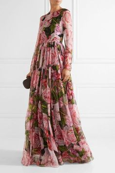 Dolce & Gabbana - Floral-print Silk-chiffon Gown - Pink - IT White Evening Gowns, Costume, Chiffon Gown, Maxis, Nice Dresses, Ball Gowns, Dress Up, Fashion Outfits, Clothes For Women